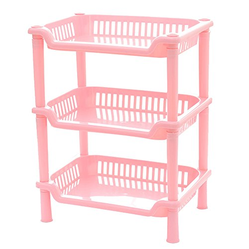 teerfu Eckregal Badezimmer, Dusche Caddy rostfrei Regal Küche Badezimmerschrank, plastik, Rectangle-3Tier-Pink, 9.6 * 7.1 * 13.0inch