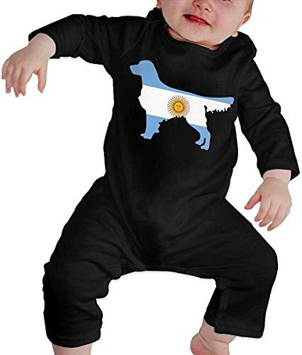 WlQshop Mono para Bebé,Mameluco Bebé Unisex Argentina Flag Golden Retriever Dogs Toddler Baby Boy Girl Long Sleeve Baby Girls Assorted Short Sleeve Bodies