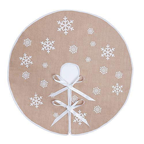 MACTING Countryside Burlap Tree Skirt Christmas White Snowflake Printed Xmas New Year Holiday Decorations Indoor Outdoor (Khaki, 35') …