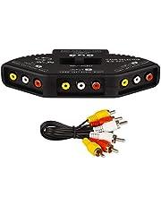 Conmutador Selector de Audio Video RCA, Switch AV Compuesto para conectar 3 Dispositivos de señal RCA a 1 Monitor