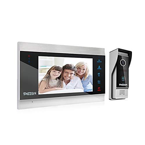 TMEZON Videoportero Timbre Video Sistema Intercomunicador, Monitor 1080P 7 zoll y timbre con cable para 1 familia, tecnología de 4 cables ,Botón táctil, visión Nocturna, instantánea/grabación