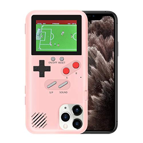 LIOWE Gameboy Case for iPhone, 3D Handheld Retro Game Console Phone Protective Case with 36 Small Game, Shockproof Video Game Case for iPhone 6P/7P/8P, Pink
