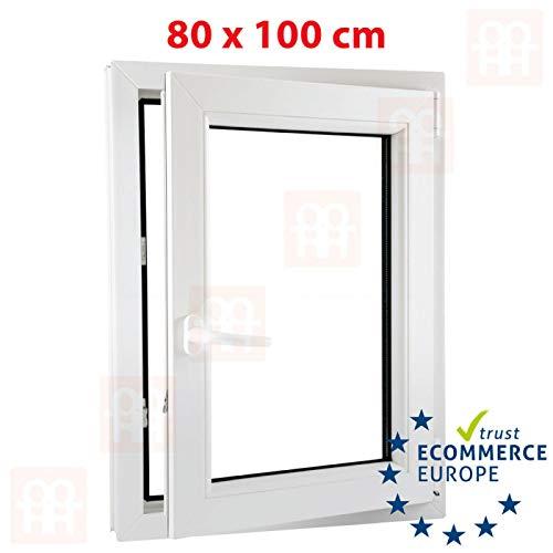 Preisvergleich Produktbild Kunststofffenster / 80x100 cm (800x1000 mm) / weiß / Dreh-Kipp-Fenster / rechts / 6 Kammern