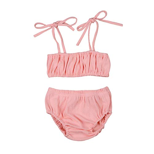 Newborn Infant Baby Girl Ribbed Clothes Outfits Sling Strap Crop Top Shirt Shorts Bloomers Set Summer Clothing (Pink, 0-3Months)