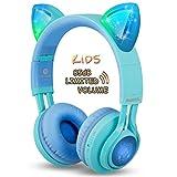 Riwbox CT-7S Kinder-Kopfhörer mit Katzenohren. Kabellose Bluetooth-Kopfhörer mit Lautstärkebegrenzung auf 85 dB, LED-Licht und Mikrofon für iPhone/iPad/Laptop/PC/TV Blau/Grün