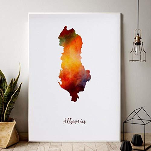 kldfig Albanië stadsplan aquarel kaart Moderne stad canvas schilderij kunstdruk muurkunst schilderijen voor woonkamer decoratie - 50x70cm niet ingelijst