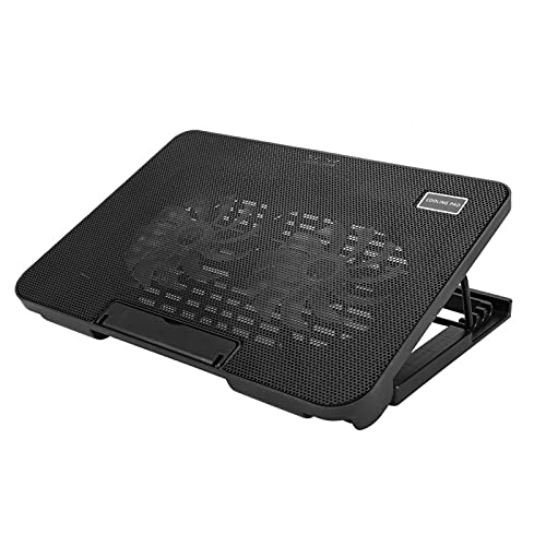 Laptop Cooling Pad Portatile Ultra Slim Silenzioso Laptop Cooler Stand con Staffa Regolabile 2 ventole Mute, 2 USB Hub 1200 RPM, Leggero, LED Blu Luce, 14.2 Pollici * 10.2 Pollici