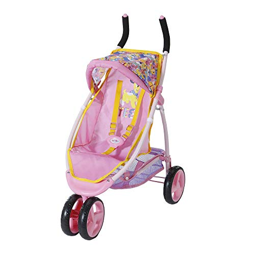 Zapf Creation 828656 BABY born Jogger super wendiger Puppenwagen mit Dachhimmel und Gurtsystem für die Puppe, Puppenzubehör für Puppen fast jeder Größe, Griffhöhe 72 cm