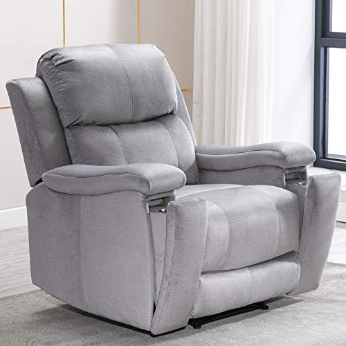 ANJ Recliner Chair with Pullable Cup Holders, Soft Microfiber Plush Modern Reclining Chair for Living Room Single Sofa Home Theater Seating (Light Grey)