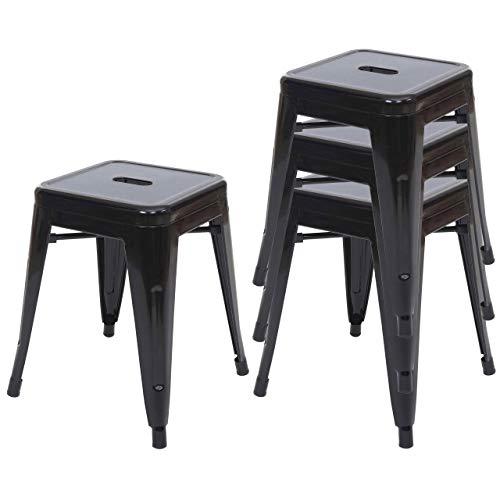 4X Hocker HWC-A73, Metallhocker Sitzhocker, Metall Industriedesign stapelbar ~ schwarz