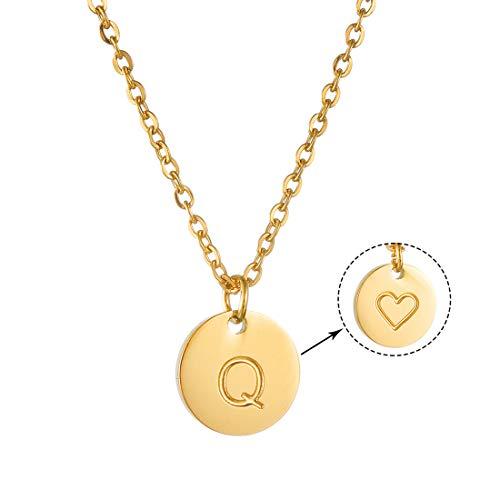 AFSTALR Damen Goldkette mit Buchstabenhänger Q Initiale Kette mit Herzen Gold Geburtstag Namenskette Geschenk für Mädchen