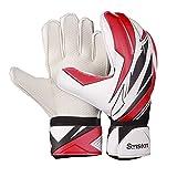 Senston Goalie Goalkeeper Gloves with Finger Spines, Youth Soccer Goalie Gloves Red Size 10