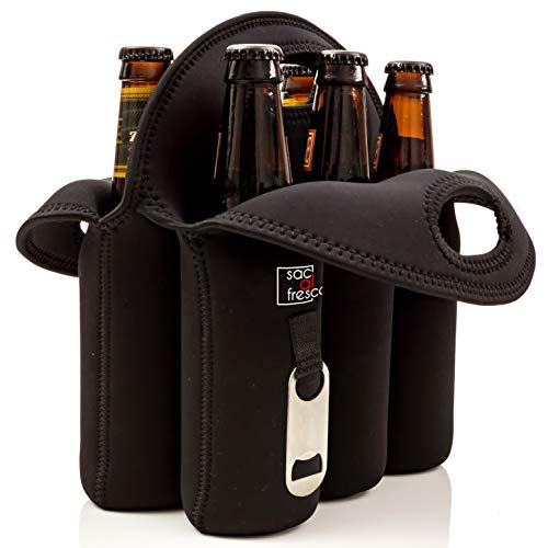 Vettore Sac al Fresco Neoprene 6 Pack Bottle Carrier Extra Thick Insulated Bottle Holder Keeps Drinks Cold Six Pack Beer Cooler or Baby Bottle Tote Bag or Beer Gift (Black)