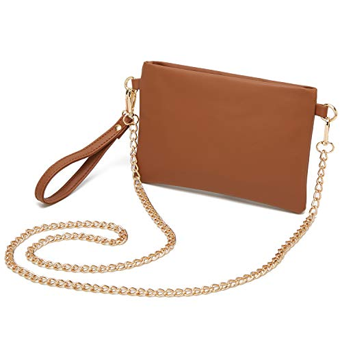 Forestfish PU Leather Wristlet Clutch Purse Crossbody Shoulder Bag Evening Bags with Chain Wristlet Strap for Women Girls, Brown