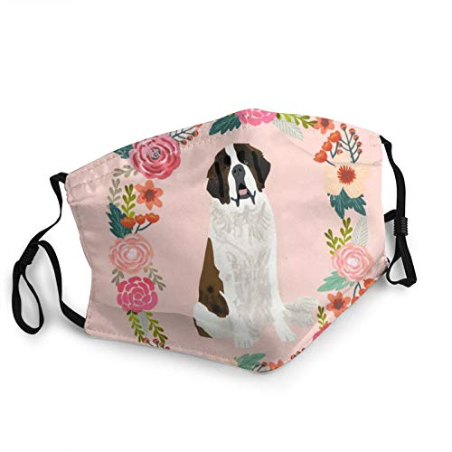 Cloth Masks Washable and Breathable,Saint Bernard Floral Wreath Dog Breed Pet Portrait Pure Breed Dog Lovers Duvet Covers Dustproof Face Cover for Men Women Outdoor Cycling Ski Warm Protection