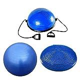 FFITNESS Balance Kit Home Fitness Pack Cuscino Propriocettivo + Swisse Fit Ball + Half Ball | 3 Attrezzi Allenamento (Ø swisse Ball 85 cm)