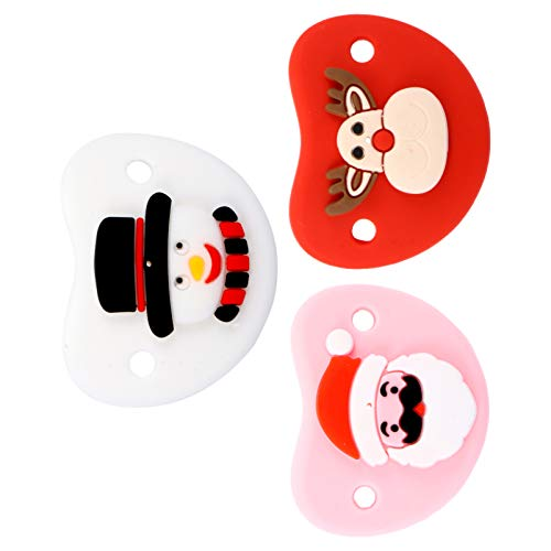 STOBOK 3pcs Baby Silicone Teether Christmas Snowman Santa Reindeer Pacifier Infant Soother Safe Teething Toys