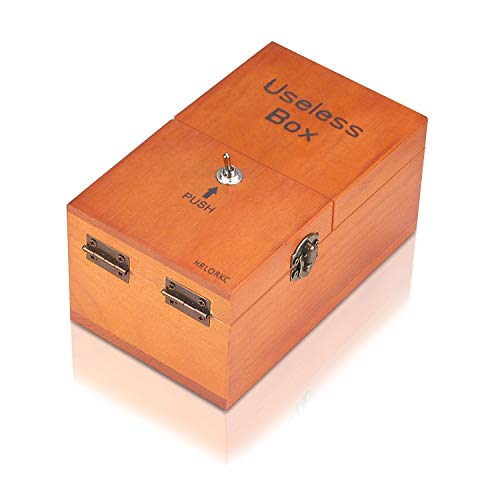 HRLORKC Useless Box with Surprises Wooden Useless Box Fully Assembled Toy for Adults and Children