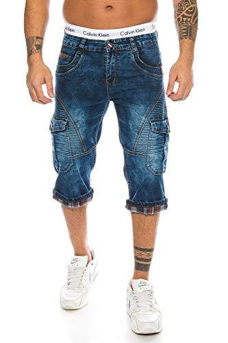 Herren Cargo Shorts Jeans Shorts Biker Style Bleached Shorts Denim Bermuda Capri (TA 320, 35)
