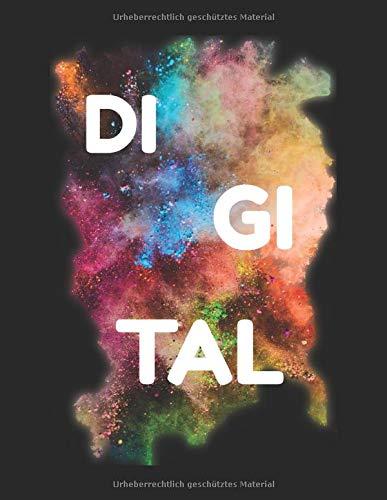 DI GI TAL Notizblock: Notziblock mit 120 Seiten Journal mit Dot-Grid Design auf weißem Papier mit dem Format 21,59 cm x 27,94 cm.