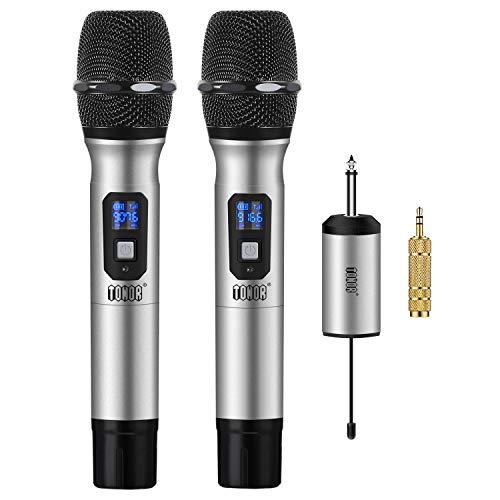 TONOR Micrófono Inalámbrico de Mano 25 Canales UHF con Mini Receptor Portable 1/4' Salida, para Iglesia/Casa/Karaoke/Reunión de Negocio, Argénteo