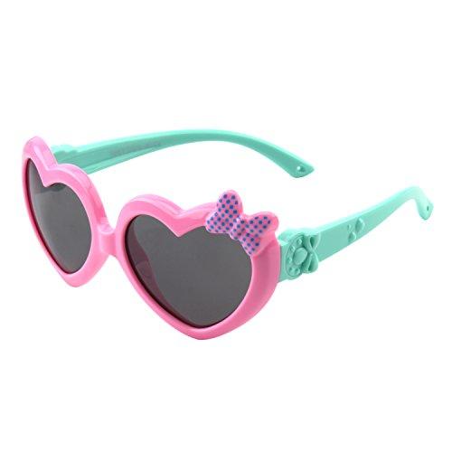CGID gafas de sol polarizadas de goma suaves en forma de corazón con marco flexible 100% Protección UV400 para ni?os de 3-10 a?os, K78