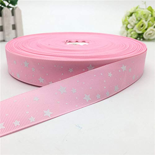 KTUCN Ribbon Silk Satin Roll - 5 Yardas 1 '' (25 mm) Estrellas de impresión Hermosa Cinta de Grosgrain para Embalaje de Regalo Decoración de Boda Suministros de Navidad # 12 Colores, Rosa