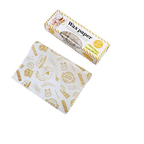 Shuny 50 PCS Bee Wrap Set,Involucri in Cera D'api Riutilizzabili, per Alimenti E Pacchetto da Pranzo Non Realizzati in Plastica per Sandwich