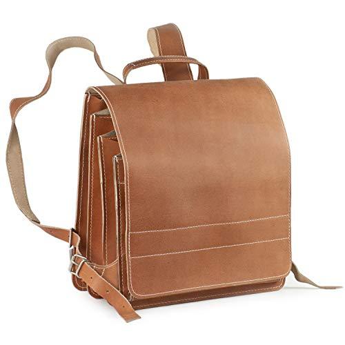 Sehr Großer Lederrucksack Lehrerrucksack Größe XL aus Leder, für Damen und Herren, Braun Marmoriert, Modell 670