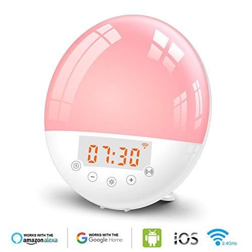 Smart Lichtwecker Wake Up Licht WiFi Sunrise & Sunset Tageslichtwecker mit Snooze Funktion FM Radio 10 Klänge 20 Helligkeitsstufe Intelligentes Wecker kompatibel mit Alexa & Google Home