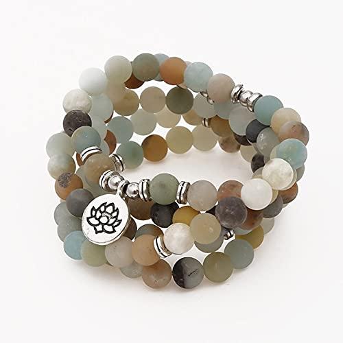 sdfpj Mujeres Hombres Pulseras 108 Beads Mala Piedras Naturales Pulseras Y Collar Joyería Natural Envolver Pulsera (Metal Color : Amazon-8mm)