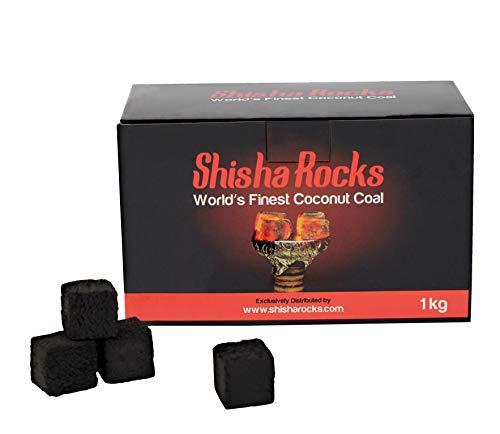 Carboncino per narghilè di prima qualità. Prodotto da olio di cocco naturale. Carboncini prodotti da Shisha Rocks (1KG - 112 cubetti). Tempo di combustione di 90 minuti, composto al 100% da materiali naturali.