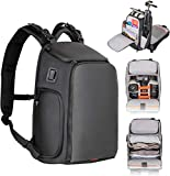 Camera Backpack,Zecti PTU Waterproof Camera Bag with Adjusted Camera Strap Designed by Lightweight Shockproof Cotton, Camera Case for Photographers Compatible with Canon/Nikon/Sony— Elegant Black