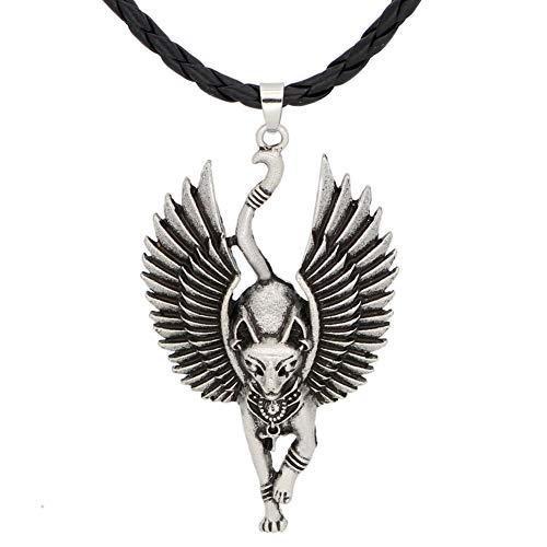 QZY Collar Colgante de los Hombres, mitología egipcia Antiguo Gato Egipcio Dios Dios Dios ala Gato Amuleto alas 1 Pieza - Estatua Egipto Regalos religiosos,Silver