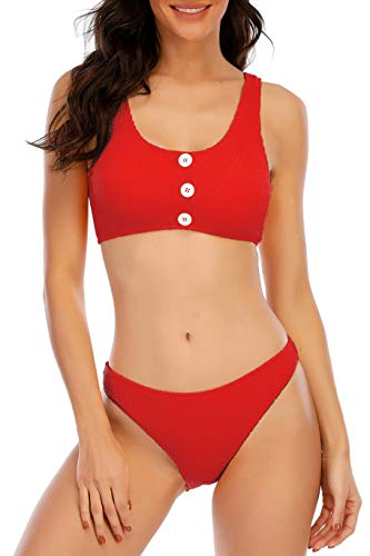 Ageeth Swimsuits for Women Bikini Sets, Teen Girls High Cut Ribbed Bathing Suit Red