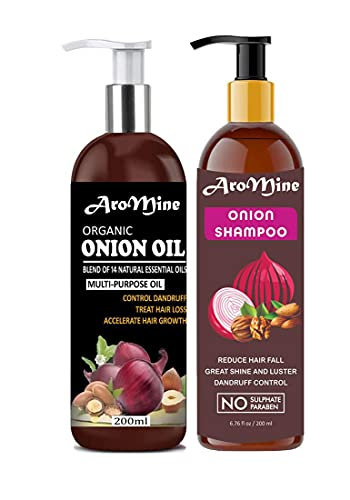 Glamorous Hub Aromine Juego combinado de aceite de cebolla roja natural y orgánico (200 ml) y champú de cebolla roja (200 ml)