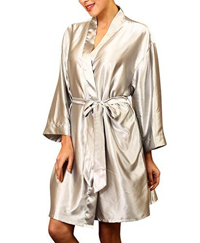 Dolamen Unisex Damen Herren Morgenmantel Kimono, Satin Nachtwäsche Bademantel Robe Kimono Negligee Seidenrobe locker Schlafanzug, Büste 132cm, 51,97 Zoll, große Größe für alle (Silber)