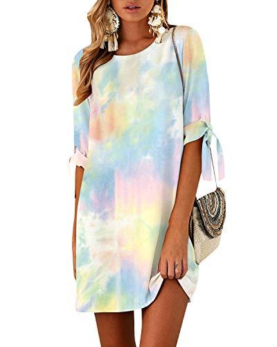YOINS Damen Kleider Tshirt Kleid Sommerkleid für Damen Rundhals Brautkleid Langarm Minikleid Kleid Langes Shirt Lose Tunika mit Bowknot Ärmeln Tie-Dye-gelb S