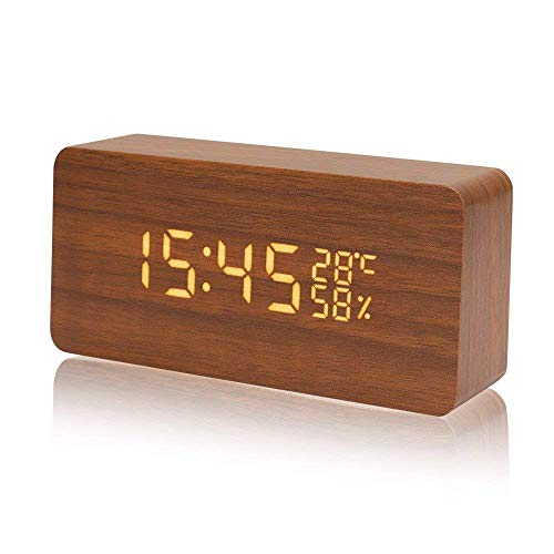 置き時計CosyLife時計デジタル時計大音量目覚まし時計音声感知インテリアおしゃれLED時計温度湿度計卓上時計木目調ベッドサイドクロックUSB/電池給電ナチュラル風カレンダー省エネLED時計寝室台所用(ブラウン)