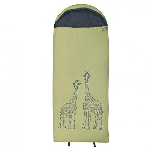 10T Kinderschlafsack GIRAFFE 180x75 XL Deckenschlafsack 300g/m² Giraffen Schlafsack Grün / Grau