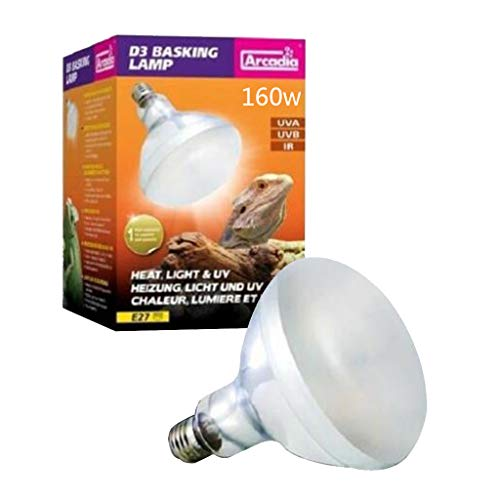freneci Lámpara de Calor para Reptiles, Espectro Completo, UVA, UVB, Reptil, Lámpara Solar, Foco para Tomar El Sol - 160W, Individual