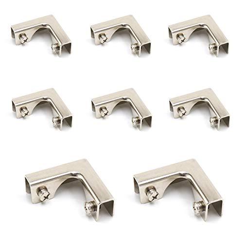 8 Pezzi Morsetti per Vetro in Metallo, Bretelle Angolari a Forma di L, Staffe di Supporto per Vetro in lega di Alluminio per Acquario,Armadio,Adatto per Vetro o Pannello di Spessore 8-12 mm,52*52*20mm