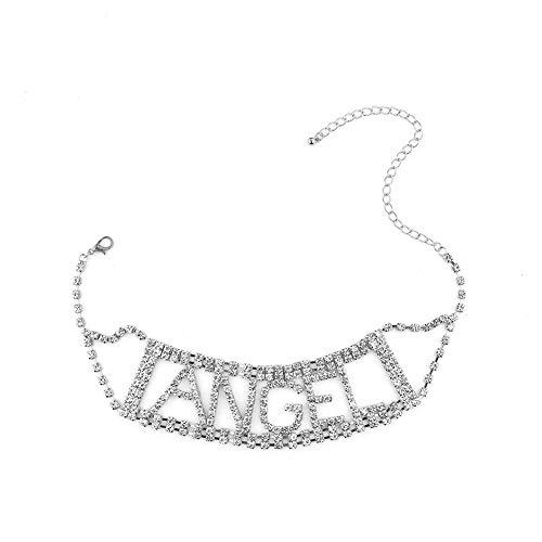 Mujeres Punk Patrón Cartas De La Clavícula Collar De Cadena De Aleación De Banda para El Cuello Diamante Gargantilla Cuello De Mujer