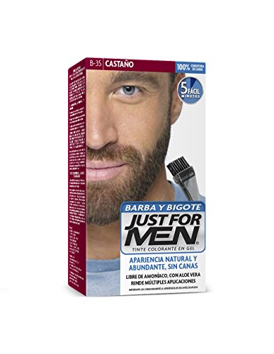 Just For Men Tinte Colorante en Gel para Barba y Bigote, Cubre las Canas, Color Castaño Oscuro Medio (B-35), 28.4 g