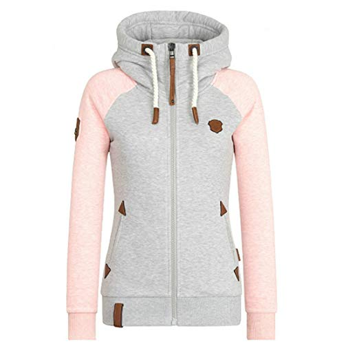 Chunmei Pullover Damen Elegant Langarm Hoodie Warm Kordelzug Taschen Sweatshirt Slim Stretch Patchwork Sport Fitness Jogging Jacke Top Herbst Winter All-Match Casual Übergangsmantel 5XL