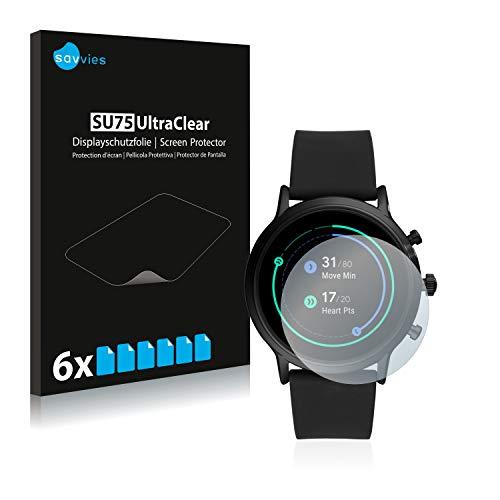Savvies 6X Schutzfolie kompatibel mit Fossil The Carlyle HR (5.Gen) Bildschirmschutz-Folie Ultra-transparent