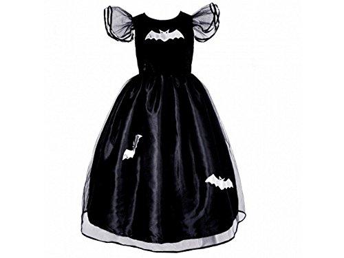 Goda den-FEN 077880-vestito da Principessa o da Strega, Colore: Nero con Pipistrello, Misura L, 6/7 Anni