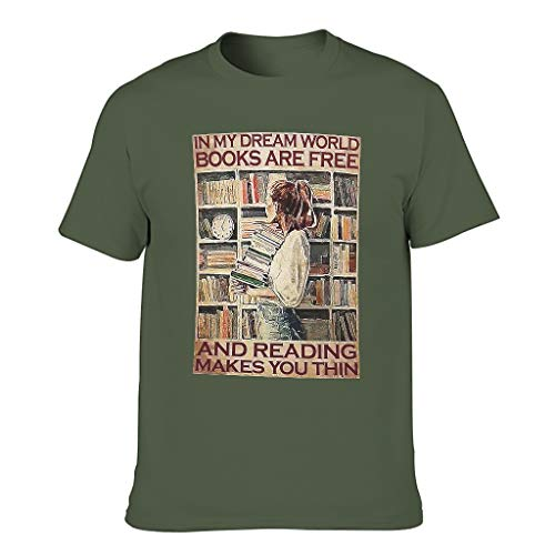 Camiseta de manga corta para hombre, diseño con texto en alemán 'In meiner Traumwelt machen Buchcher das Freiles', impresión fina, estilo vintage verde militar M