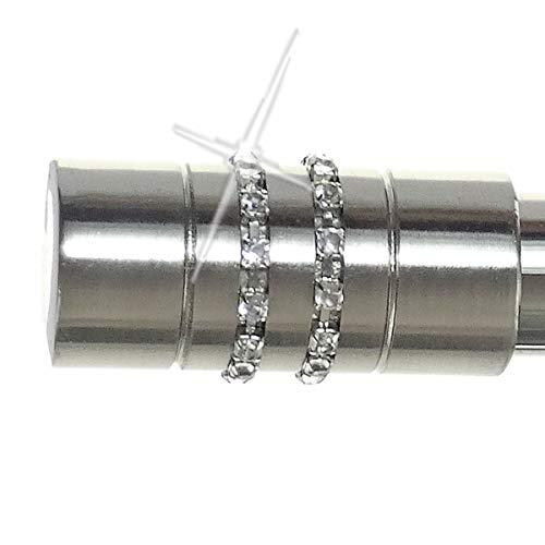 BASIT Endstück f. 20mm Gardinenstangen Edelstahl Look Kappe Kristall - Designs wählbar, Modell:E80