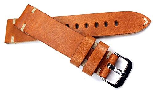RIOS 1931 Herren Leder Deutsch Uhrenarmband Vintage 20mm hell braun